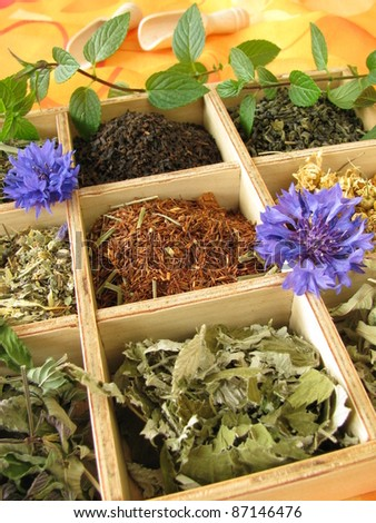 Tea box with loose tea types