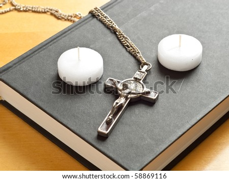 Tea Candles and Crucifix - stock photo