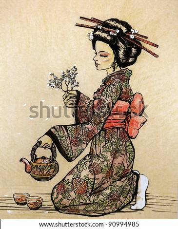 Tea ceremony in Japanese style: geisha with teapot and cherry blossom branch in her hands - hand drawn illustration - stock photo