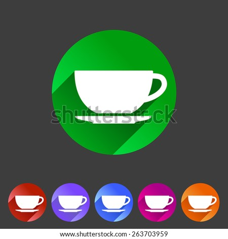 Tea, coffee cup flat icon symbol sign