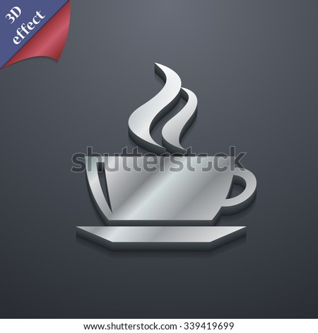 tea, coffee icon symbol. 3D style. Trendy, modern design with space for your text illustration. Rastrized copy - stock photo