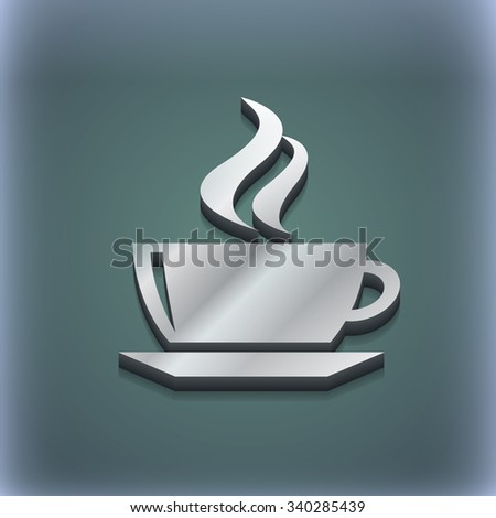 tea, coffee icon symbol. 3D style. Trendy, modern design with space for your text illustration. Raster version - stock photo