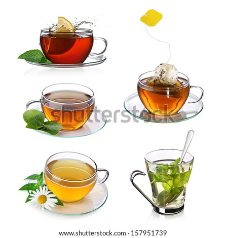 Tea collage with glass cups of english and herbal tea  - stock photo