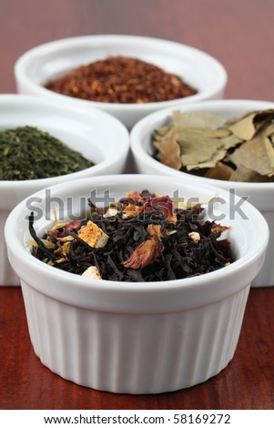 Tea collection - flavored black tea - stock photo
