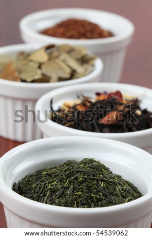 Tea collection - focus on bancha green tea - stock photo