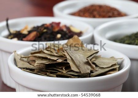 Tea collection - focus on dried ginkgo leaves - stock photo