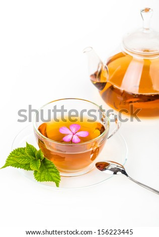 Tea composition with mint leaf on white