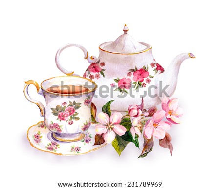 Tea cup and tea pot with flowers. Vintage watercolor design - stock photo