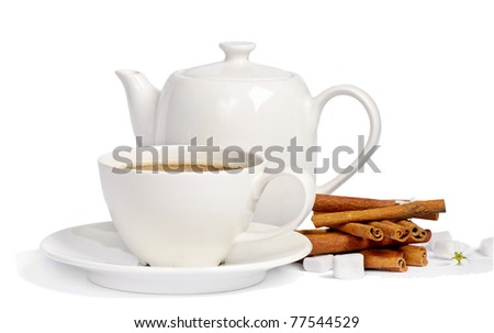 Tea cup and teapot isolated on white