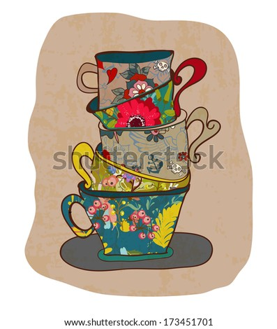 tea cup background with floral pattern, vintage style - stock photo