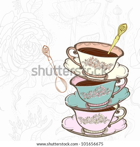 tea cup background with spoon, illustration - stock photo