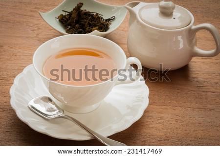 tea cup full of tea - stock photo