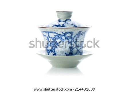 tea cup in chinese style isolated on white background - stock photo