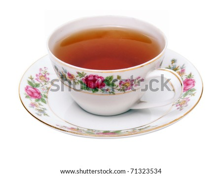 Tea cup isolated on white - stock photo