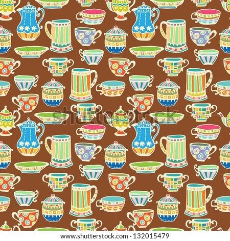 tea cup seamless background with teapot, illustration for design - stock photo