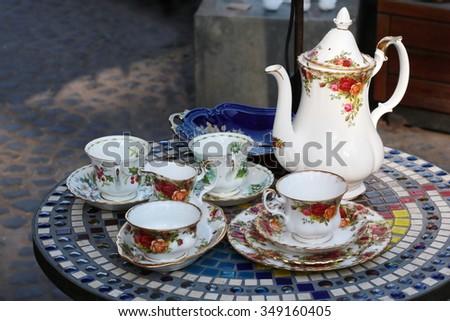 tea cup set - stock photo