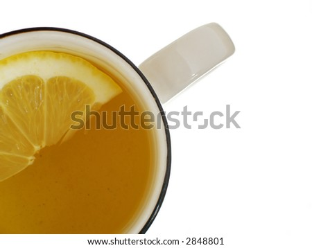 Tea cup with lemon view from abow