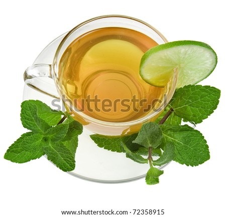 tea cup with lime and mint herb  isolated over white background - stock photo