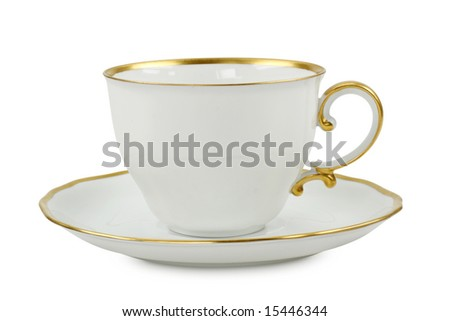 tea cup with plate isolated on white - stock photo