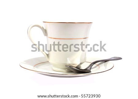 Tea cup with saucer isolated on white - stock photo