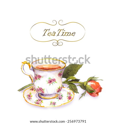 Tea cup with tea and rose flower. Water color card
