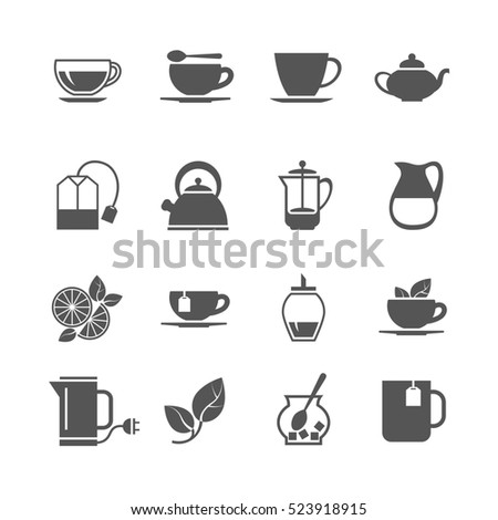 Tea icons. Hot beverage with sugar and lemon illustration
