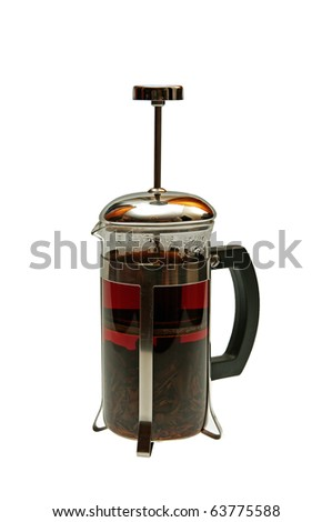 Tea in a french press. Isolated on white. - stock photo