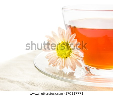 tea in cup with chrysanthemum on fabric table - stock photo