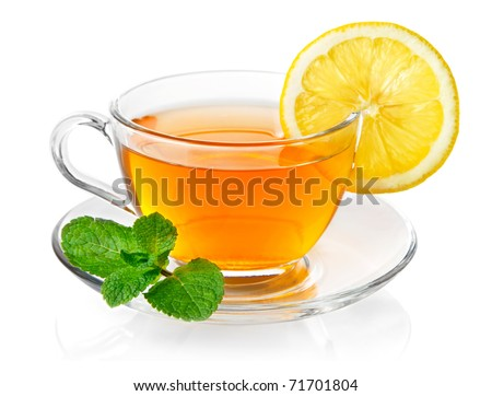 tea in cup with leaf mint and lemon isolated on white background - stock photo