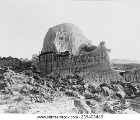 "Tea Kettle Butte, Pyramid Park, North Dakota, became the visual symbol the ""Teapot Dome"", the secret leasing of federal oil reserves by the Secretary of the Interior, Albert B. Fall. - stock photo"