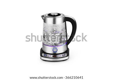 Tea kettle with boiling water isolated on white - stock photo