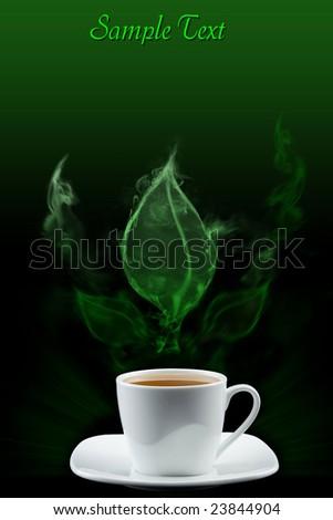 Tea leaf created by smoke - stock photo