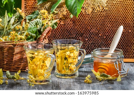 Tea made of lime and honey served in the garden - stock photo