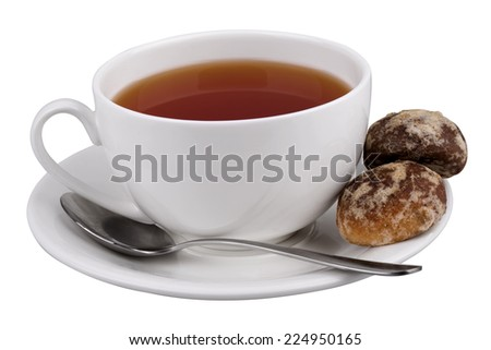 Tea mug on saucer with marshmallow isolated on white background