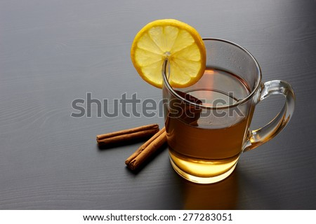 Tea on black table