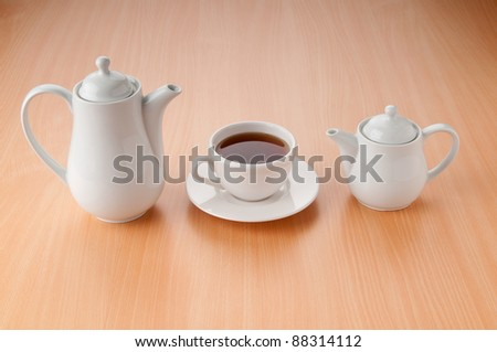 Tea on the wooden table