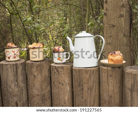 Tea party-cakes and enamel teapot in the forest - stock photo