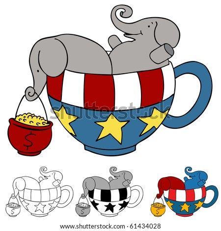 Tea Party Elephant Donations - stock photo