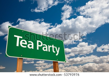 Tea Party Green Road Sign with Copy Room Over The Dramatic Clouds and Sky.
