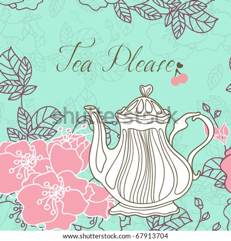 tea please card with cherry blossom - stock photo
