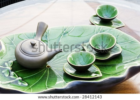 Tea pot and cups - stock photo