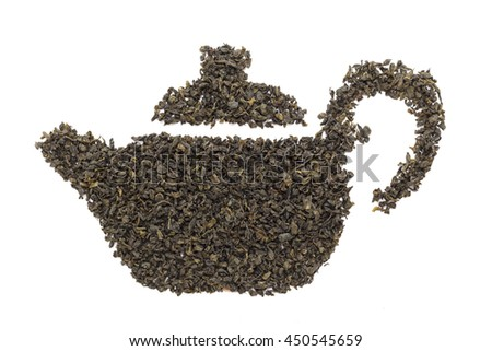 Tea pot made from organic Green Tea (Camellia sinensis) dried whole leaves. Isolated on white background. Top view.