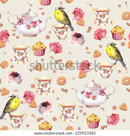Tea pot, tea cup, cakes, rose flowers and bird. Seamless tea vintage pattern. Retro watercolor - stock photo
