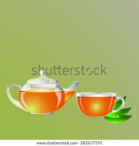 Tea-pot with the cup of tea