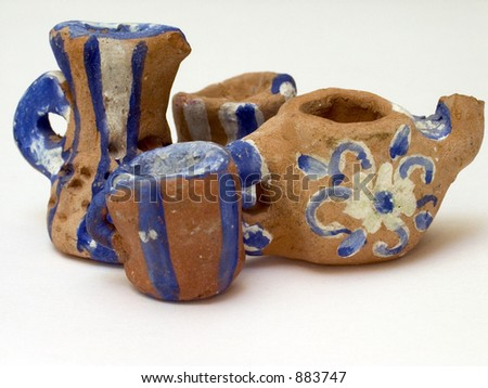 tea service made by child - stock photo