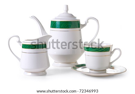 Tea service on a white background. Isolated path included. - stock photo