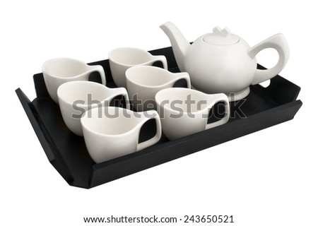 tea service on a wooden stand isolated on white background