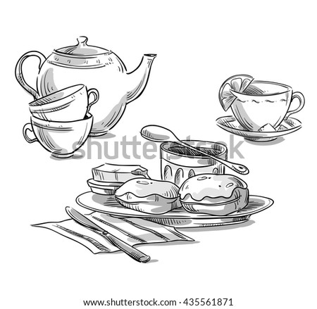 Tea serving. Tea and scones sketch - stock photo
