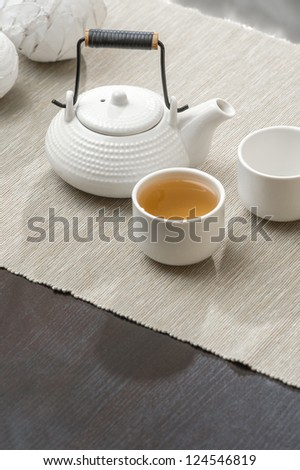 Tea set at beautiful lounge with nobody - stock photo