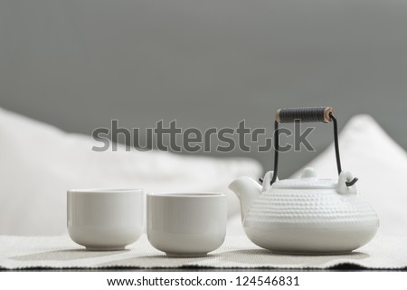 Tea set at comfortable lounge - stock photo